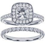 $3,599 2.42 CT TW Pave Princess Halo Set