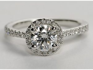 $7,230 A Floating Halo Engagement Ring by Blue Nile