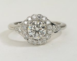 A Floral Halo Engagement Ring under $7,000