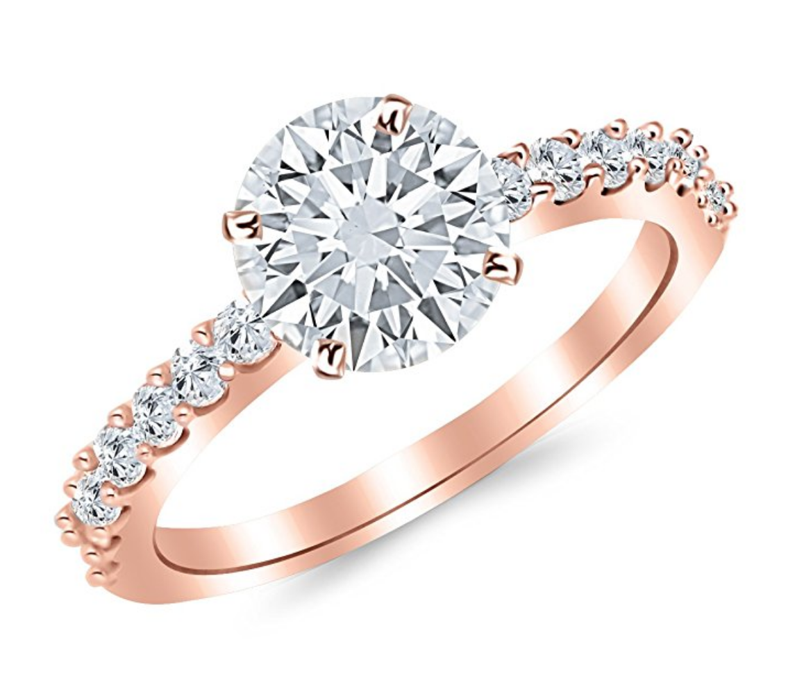 Pave Solitaire in Rose Gold
