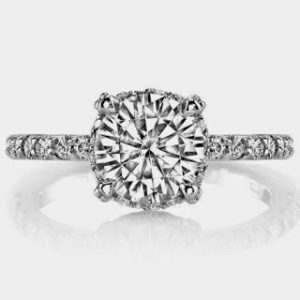 Petite Pave Prong Engagement Ring for $1,774