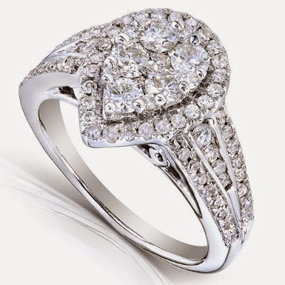 Pear cluster diamond engagement ring
