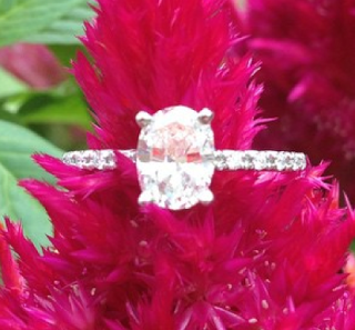 petite pave oval engagement ring