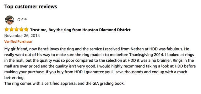 Houston Diamond District Customer Reviews