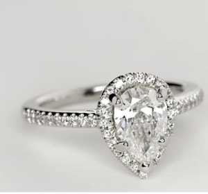1.23 Ct Pear Halo for $6,265 | Engagement Ring Voyeur