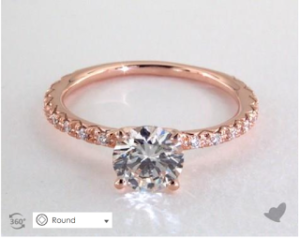 A Rose Gold French Pave Engagement Ring