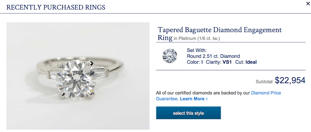 Blue Nile tapered baguette diamond engagement ring