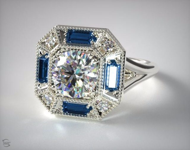 New Vintage Sapphire Engagement Ring James Allen
