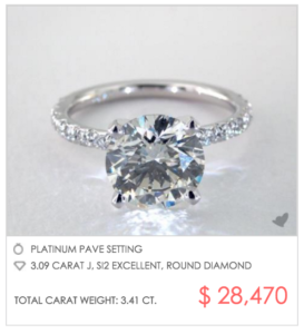 3 Carat Pave Engagement Ring for $28,470