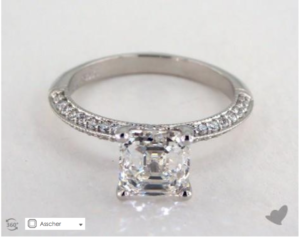 A Pave Knife Edge Lotus Basket Asscher Solitaire for $16,110
