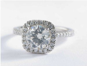 Blue Nile Arietta Cushion Halo Diamond Engagement Ring – $11,186