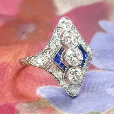 Unique Vintage Sapphire Engagement Ring on Etsy