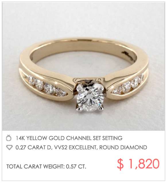 yellow gold channel setting under $2000
