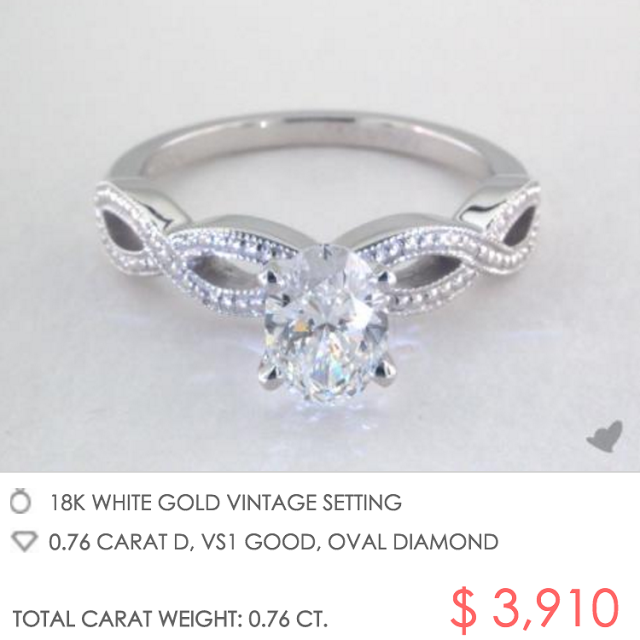 vintage setting with oval diamond