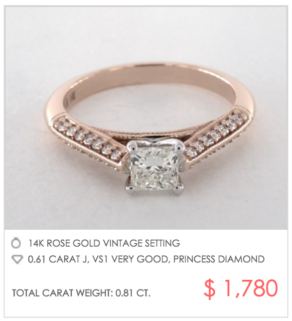 vintage rose gold setting under $2000