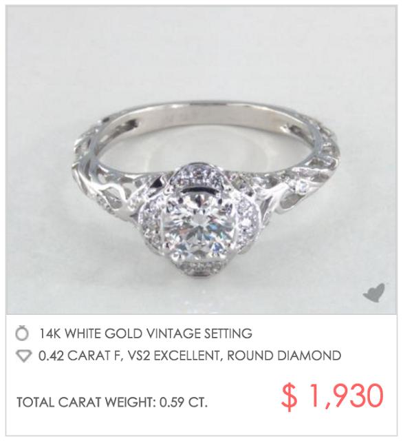 vintage look setting under $2000