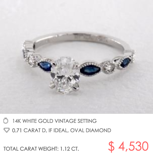 Vintage look sapphire engagement ring setting with oval diamond