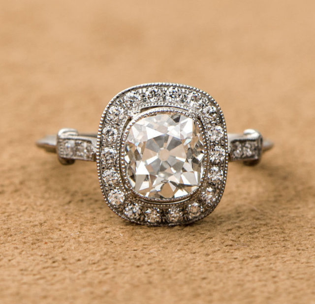 Old mine vintage halo engagement ring