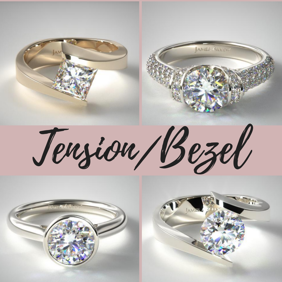 Tension and Bezel Set Engagement Rings
