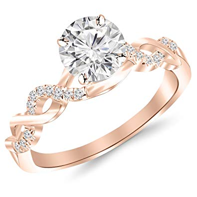 rose gold twisted pave ring under 2000