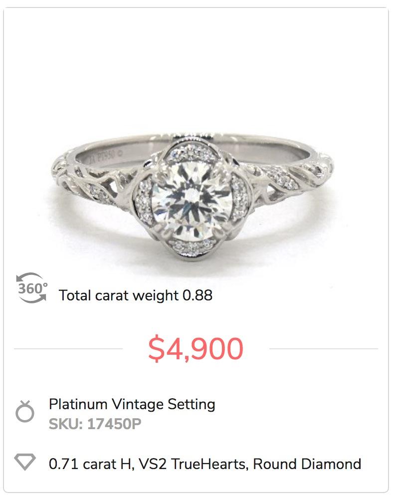 Platinum Vintage Engagement Ring Setting